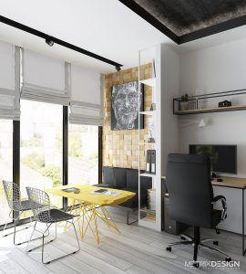 Офис студии «METRIX DESIGN», выполненный в современном стиле с элементами лофта